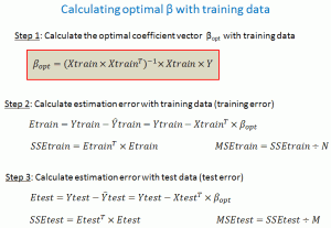 Calculating optimal coefficient vector with training data