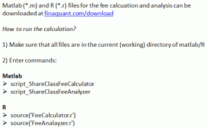 Downloadable matlab and R files for fee calculation