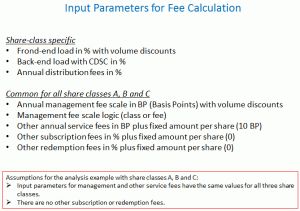 Input parameters for fee calculation