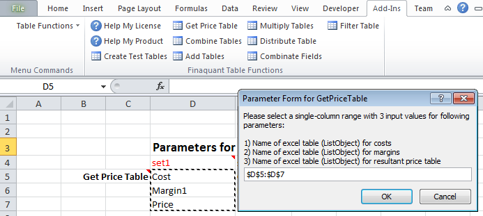 Table Valued Functions in Excel
