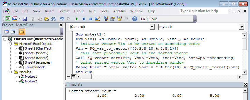Your first VBA procedure with matrix functions