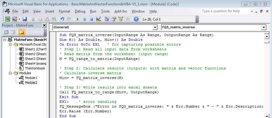 Basic matrix functions with VBA/Excel (free download) | software