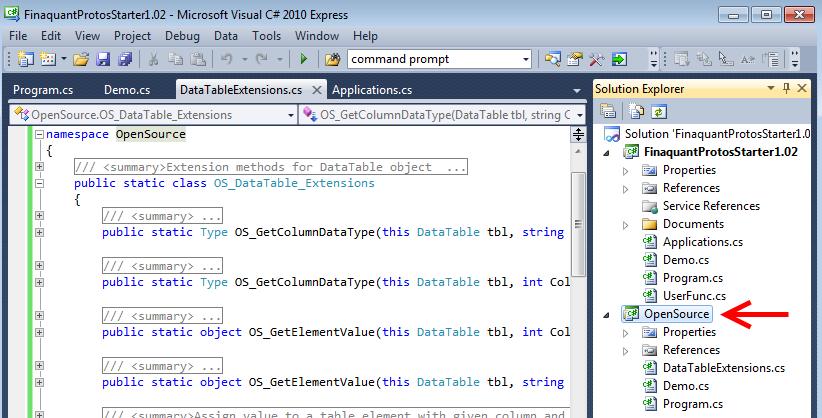 DataTable extensions in FinaquantProtosStarter