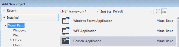 Add a new console application project  in Visual Studio