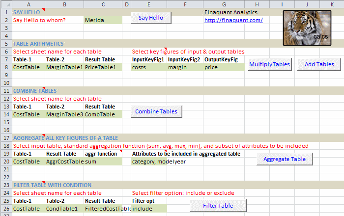 Calling Table Functions from Excel