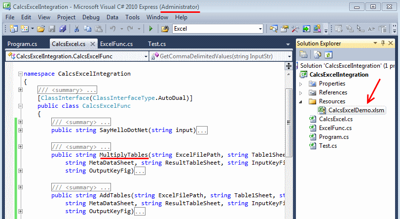 Visual Studio file CalcsExcelIntegration