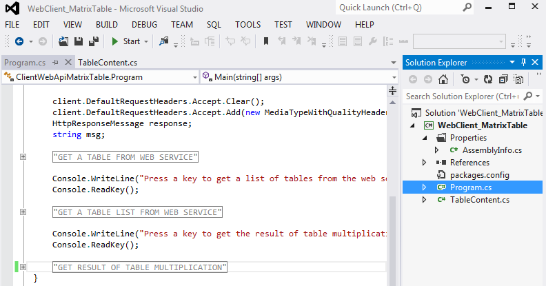 Visual Studio project for Web Client