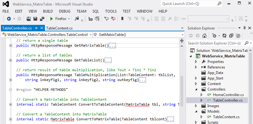 Visual Studio 2012, Web Service