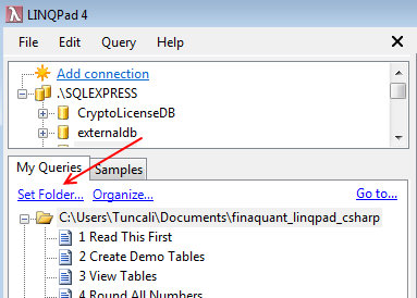 Set folder in LINQPad