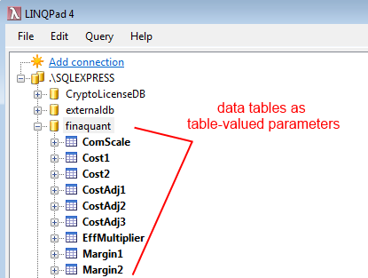 Data tables as table-valued parameters