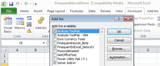 Installing Excel Add-in Finaquant in Excel