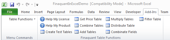 Excel Add-In: Finaquant In Excel