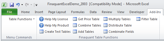 Installing Excel Add-in: Finaquant in Excel