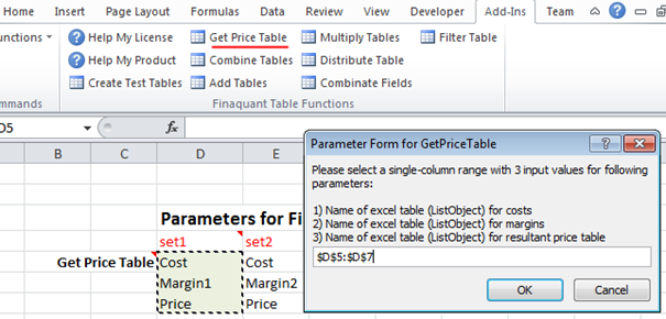Testing Table Functions in Excel