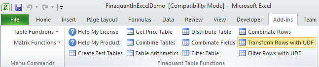 Excel Add-in for Table-Valued Functions (Finaquant in Excel)