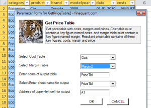 Table Function: Get Price Table
