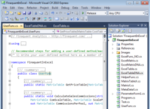 MS Visual Studio project Finaquant in Excel